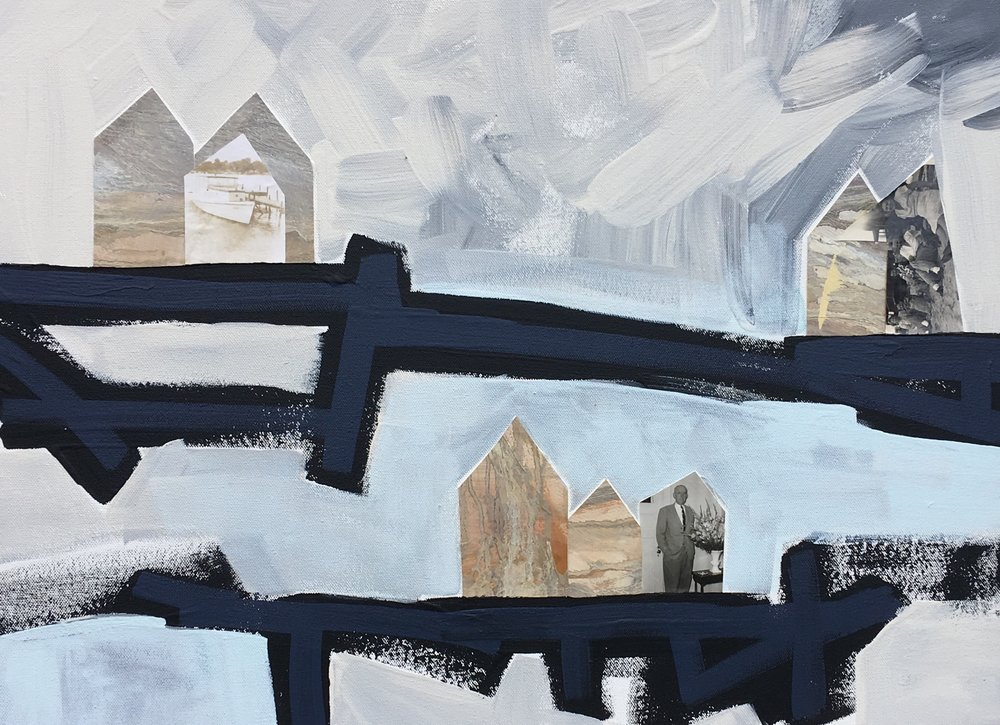 Blue Bridges II  Collage on Canvas  18 x 24