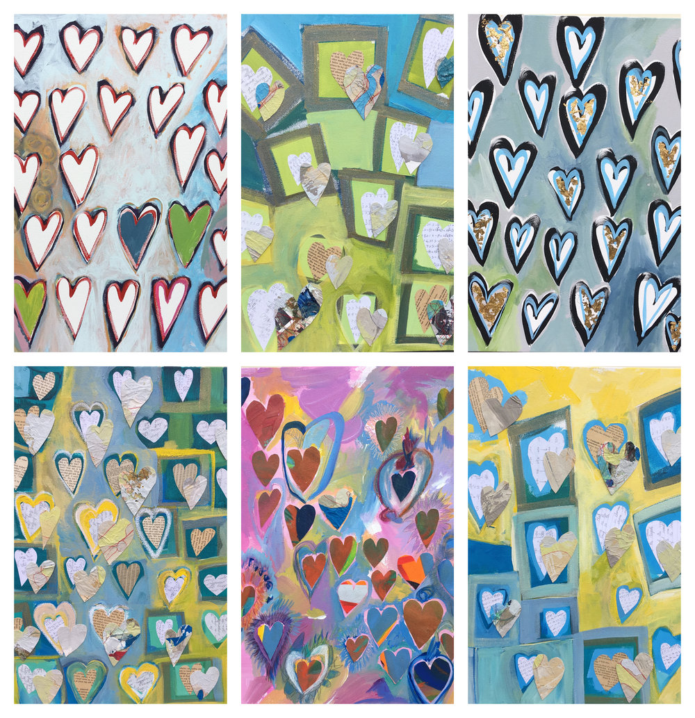 Series of 6 Heart paintings.  This series of work utilize elements of collage pieces from other paintings.  Some hearts are made with math homework and essays.