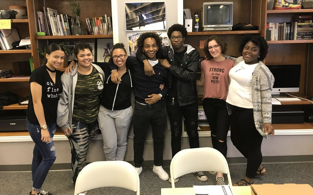 2017-2018 Young Writers' Council (from left) Lyric Thomas (Science and Mathematics '20), India Harris (Kipp-Renaissance 19'), Talon Washington (Science and Mathematics 18'), Jeremy Denesse (Landry-Walker 19'), Malcolm Freeman (Cohen 18'), Sarah Wag (Riverdale 18'), and Veronica Hernandez (Carver 18')