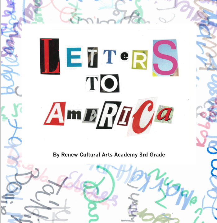 In Letters to America by ReNEW Cultural Arts Academy, the 3rd grade researched topics such as teens in jail, immigration, and the environment and wrote letters to a wider audience that projected their voice. In collaboration with KID smART they created art to accompany their letters, and then worked with the New Orleans Video Access Center to create a movie of their letters.