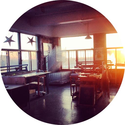 Sophie's sunlit studio, where she also teaches screenprinting classes.