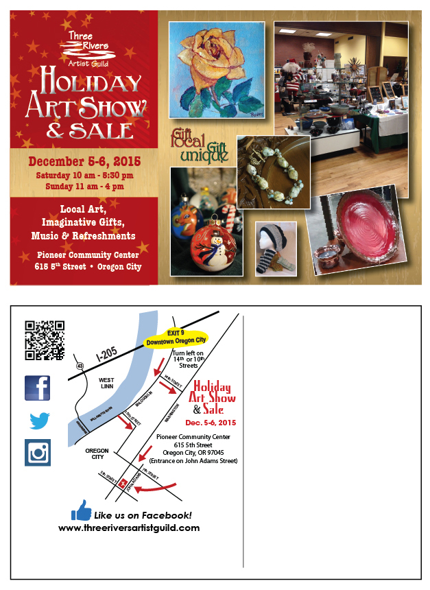 Three Rivers Artist Gallery Holiday Show, December 5-6, Oregon City