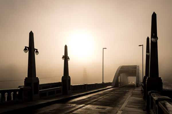 """Foggy Sunrise on the Bridge"" - Fall 2012"