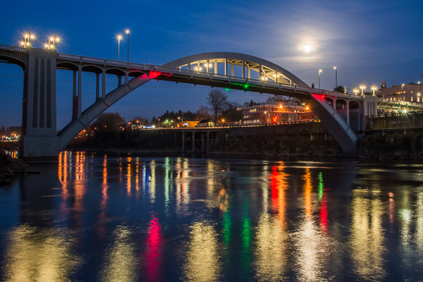 """Oregon City Lights and Full Moon Over the Bridge"" - Spring 2015"