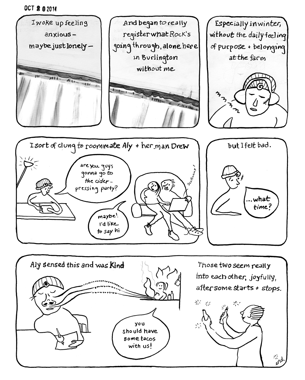 Diary Comic ~ October 20, 2014 Late fall loneliness, after I dropped my partner off at the train station~ I commuted during my last year at the Center for Cartoon Studies, so by and large I was the busy one off doing exciting things. I made a lot of sympathetic noise toward my partner as he struggled through the winter.