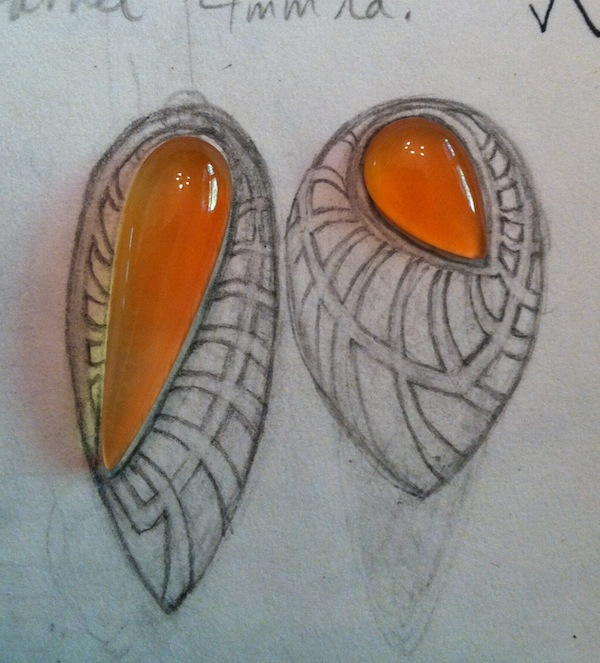 The design. It's easier to have the stones first, but I do plenty of sketching and l hope to find the right stones to work with the design later. Here, I already had the carnelians. More rare carnelians tend toward a deeper reddish-orange, but I'm not a stone snob. I love the tangerine shade.