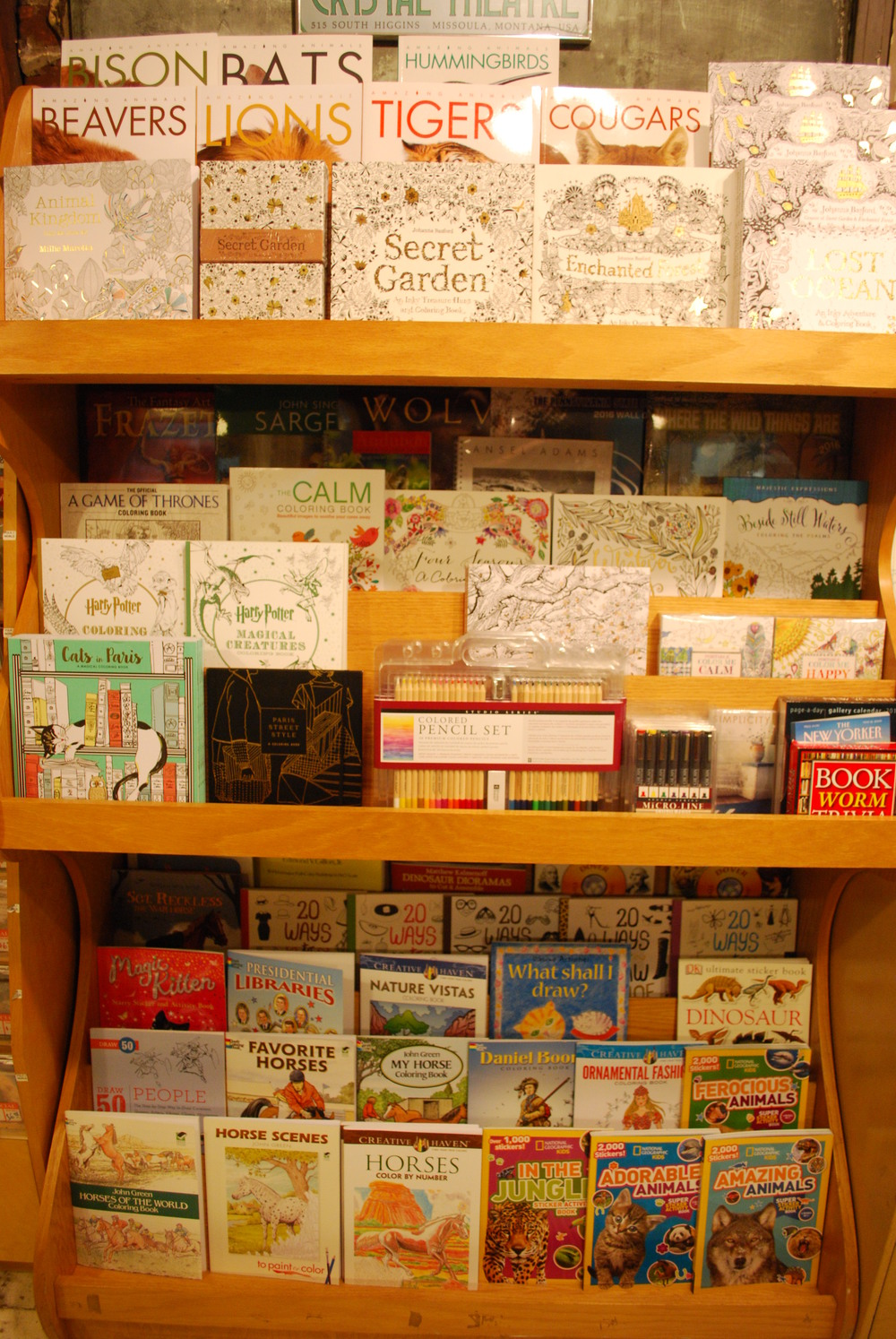 A new display for coloring books and supples