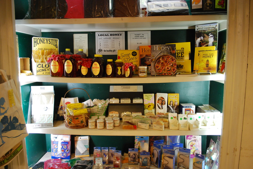Year-round display of local honey and honey products