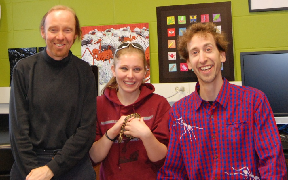 Chrissy Burkhart (center, with wonderful snake), and advisors Eric Snively and Barrett Klein.