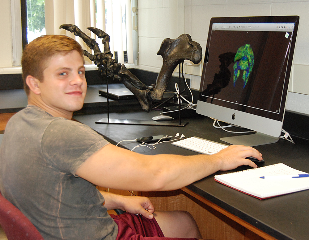 Zach Tooley shows the bone densities and anatomy of a super-complicated crocodile neck vertebra (the atlas) which attaches to the head. A cast arm of the dinosaur Acrocanthosaurus is in the background.