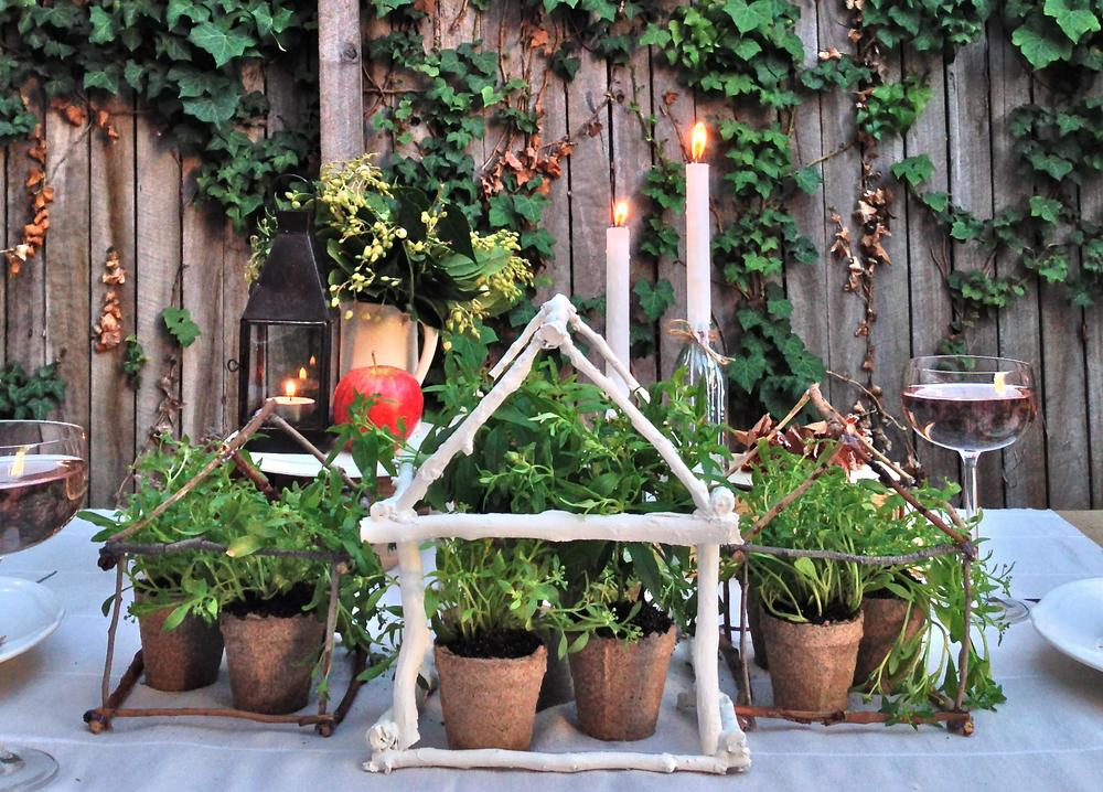 Outdoor Dinner Party - Greenhouse Centerpiece - Delighted Magazine