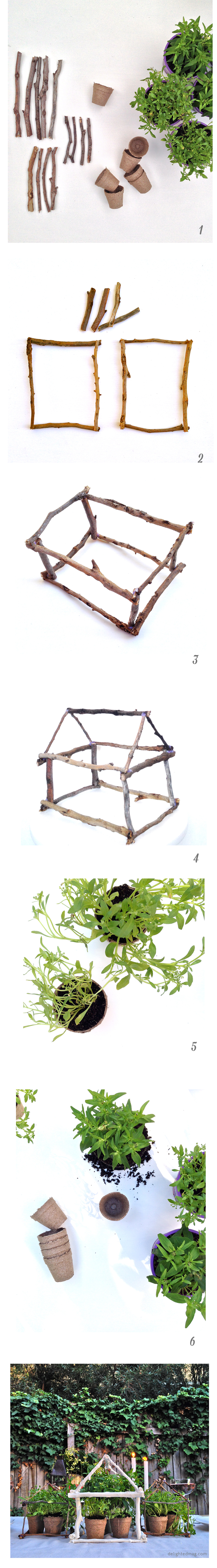 Twig greenhouse centerpiece #outdoor #party via Delighted Magazine