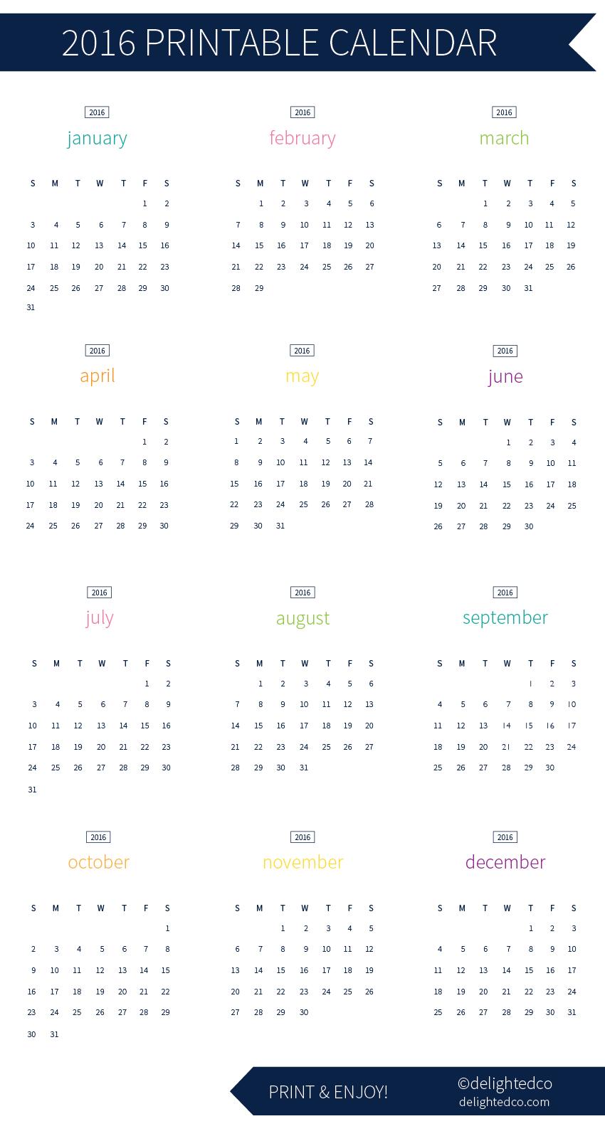 2016 Calendar Free Download || DelightedCo.com