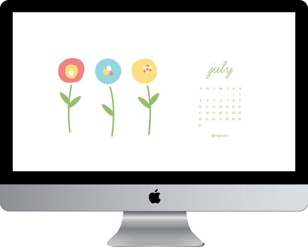 Free July 2016 Tech Wallpaper Calendar Download from Amanda Gomes of Delighted Creative Co. July 2016