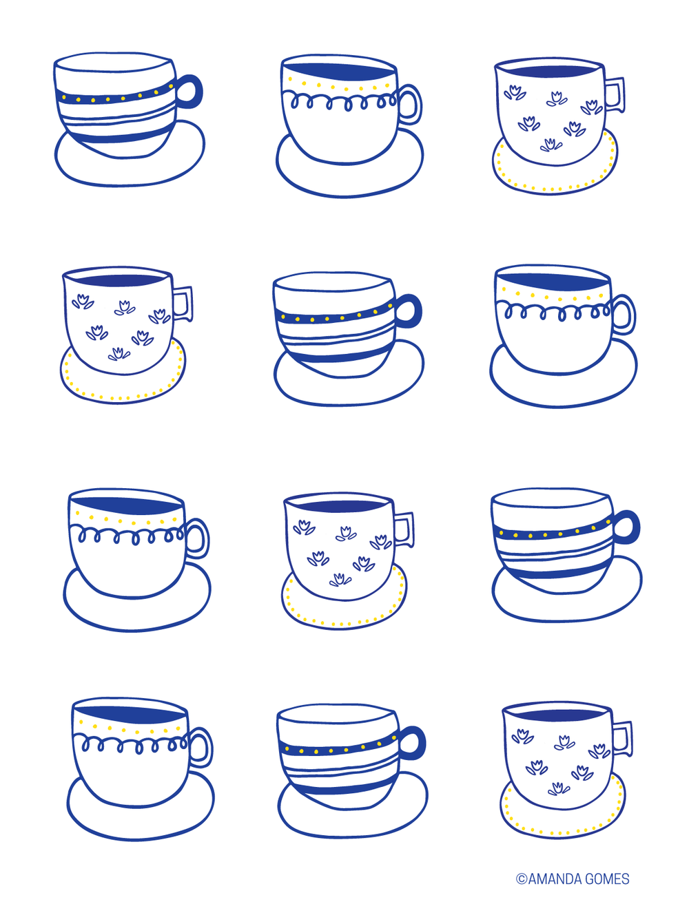 Amanda Gomes Illustration - Teacups in Blue - www.delightedco.com