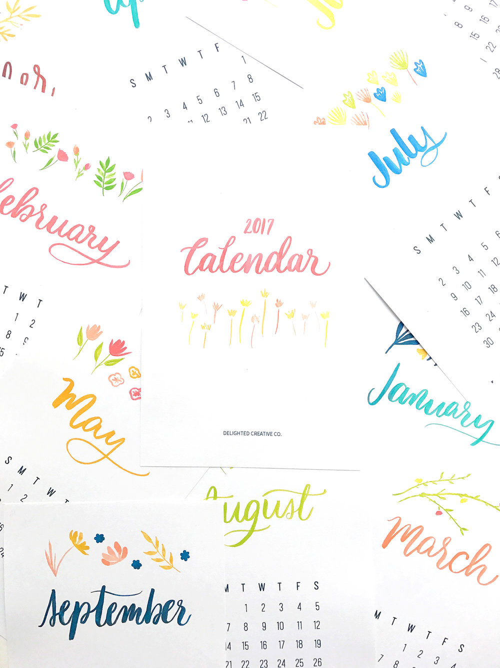 Printable 2017 Calendar • free download at DelightedCo.com
