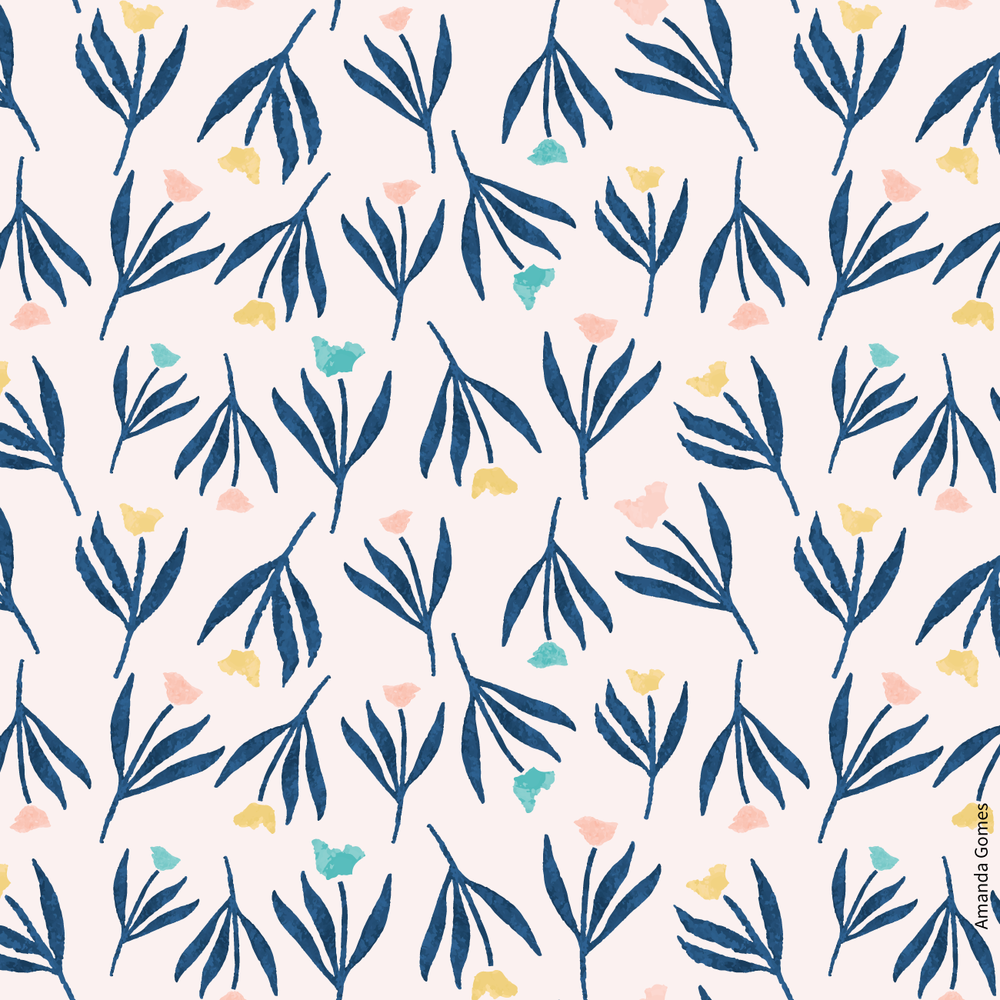 Gouache Floral Pattern in Pink and Blue by Amanda Gomes | delightedco.com