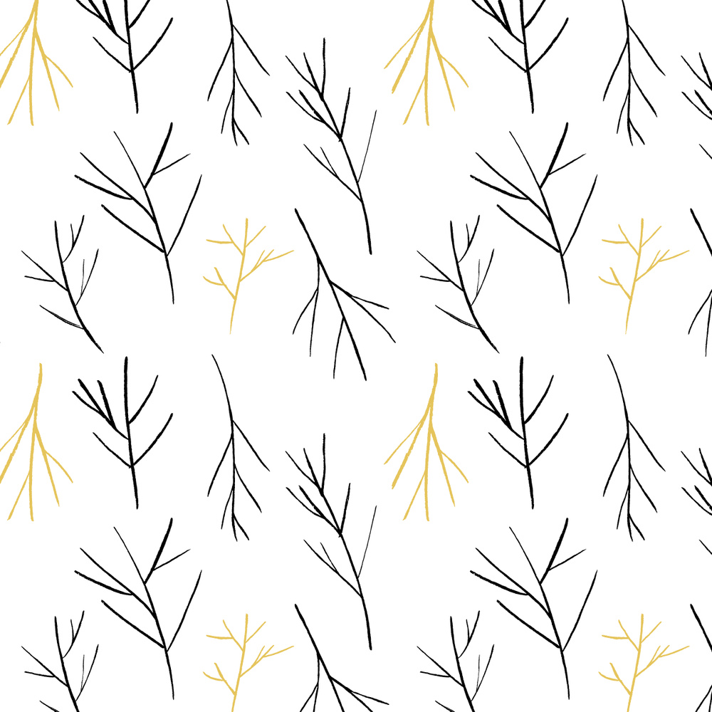 Winter Branches Pattern with White Background by Amanda Gomes | delightedco.com