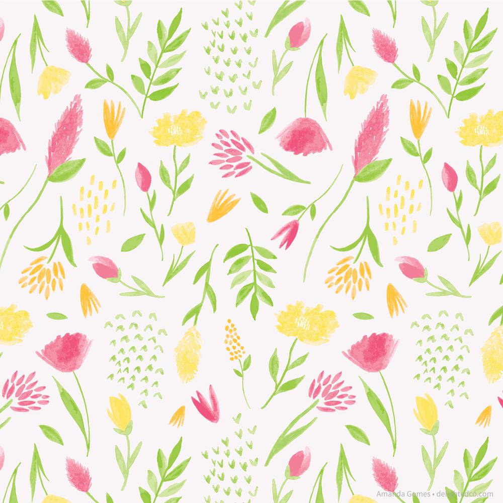 Bright Gouache Floral Pattern by Amanda Gomes | delightedco.com