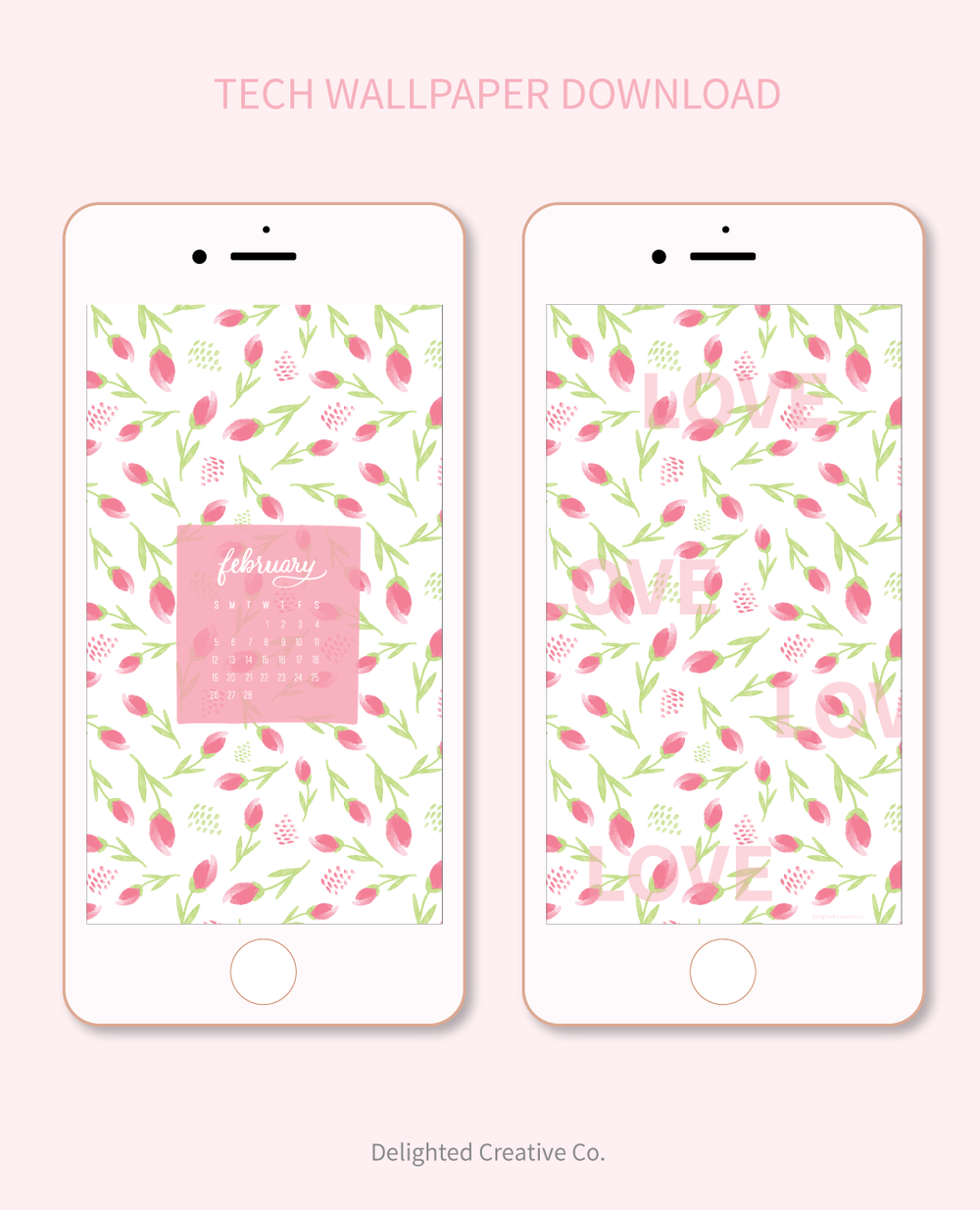 Free Tech Wallpaper for Valentines Month by Amanda Gomes • Delighted Creative Co.