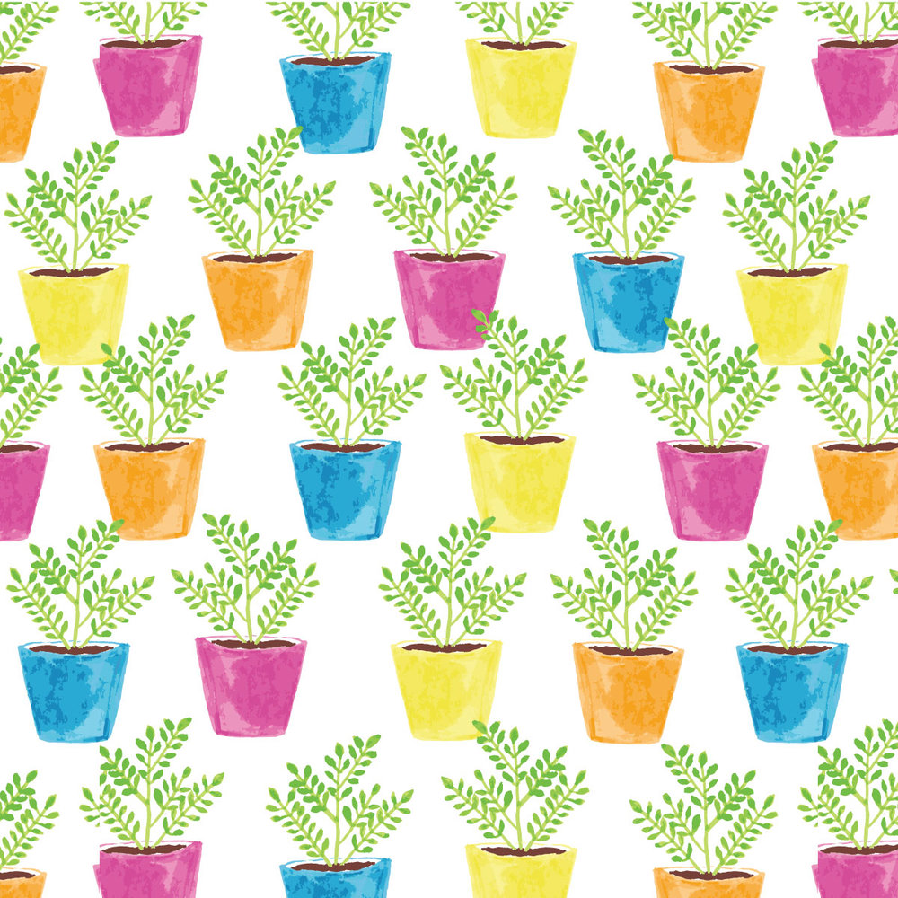 Potted Plant Pattern by Amanda Gomes • Delighted Creative Co.