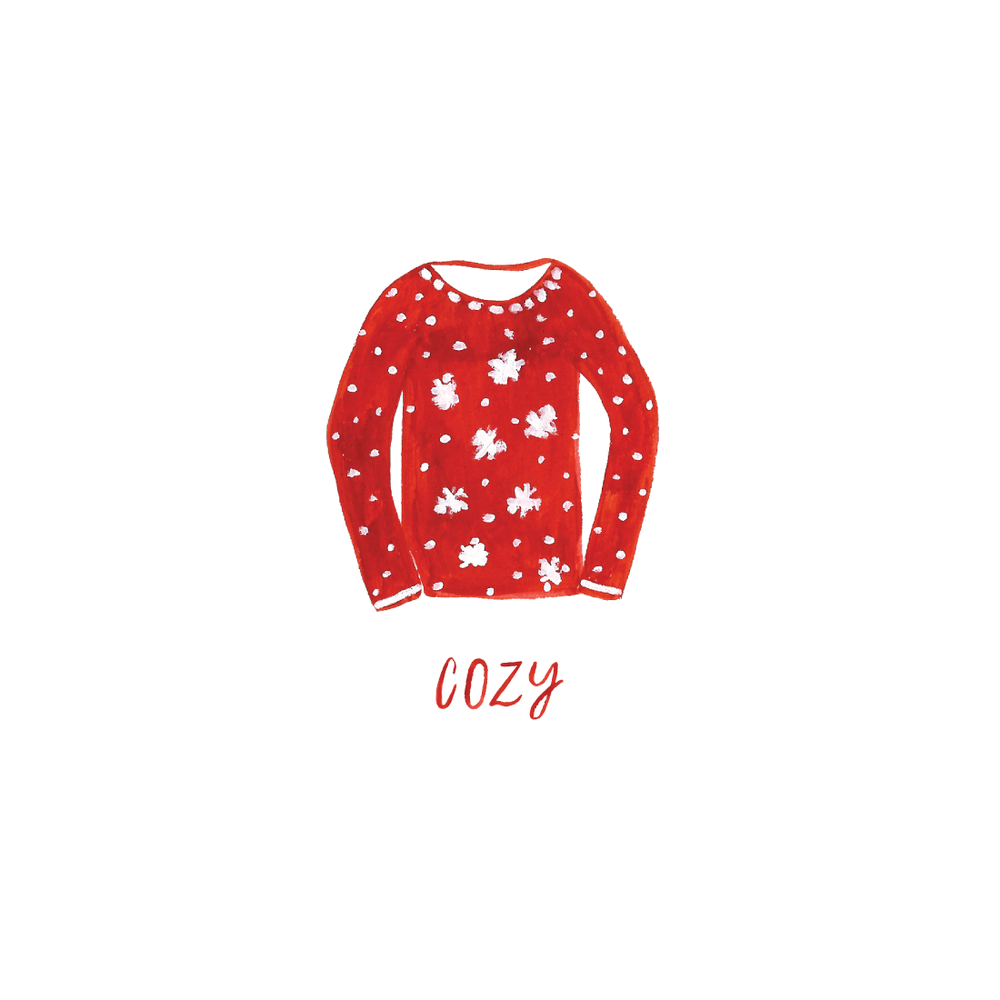 Cozy Christmas Sweater illustration by Amanda Gomes • Delighted Creative Co.
