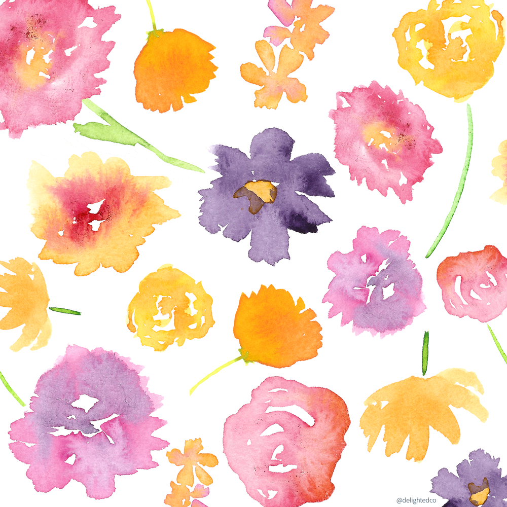 Watercolor Floral Pattern by Amanda Gomes • Delighted Creative Co.