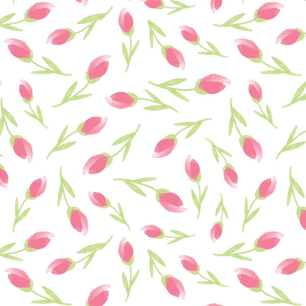 Watercolor Rosebud Pattern by Amanda Gomes • Delighted Creative Co.