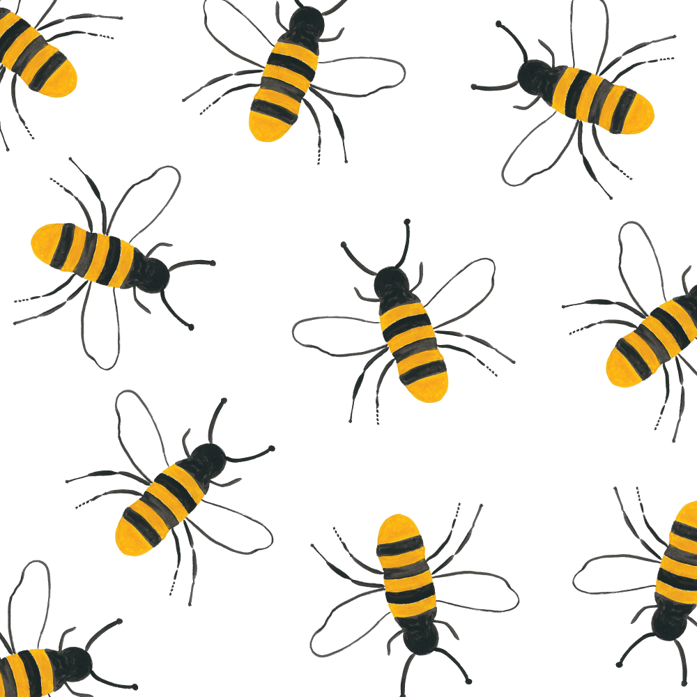 Bee Pattern in Gouache by Amanda Gomes • Delighted Creative Co.
