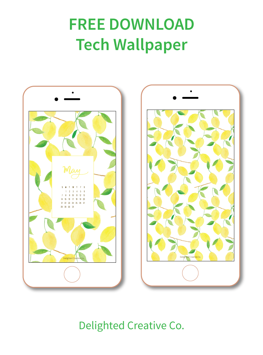 Free Tech Wallpaper for iPhone, iPad, or Desktop. Watercolor lemon pattern by Amanda Gomes • Delighted Creative Co.