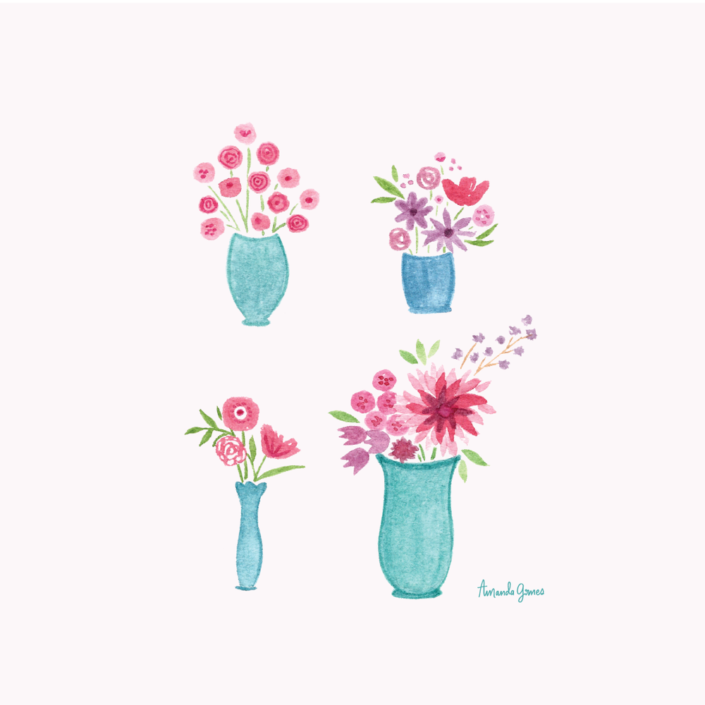 Flowers in Vases Illustration by Amanda Gomes • Delighted Creative Co.