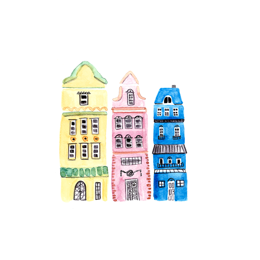 Row Houses Illustration by Amanda Gomes • Delighted Creative Co.