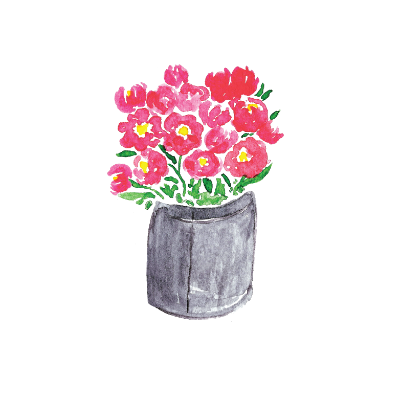 Pail of Peonies Illustration by Amanda Gomes • Delighted Creative Co.