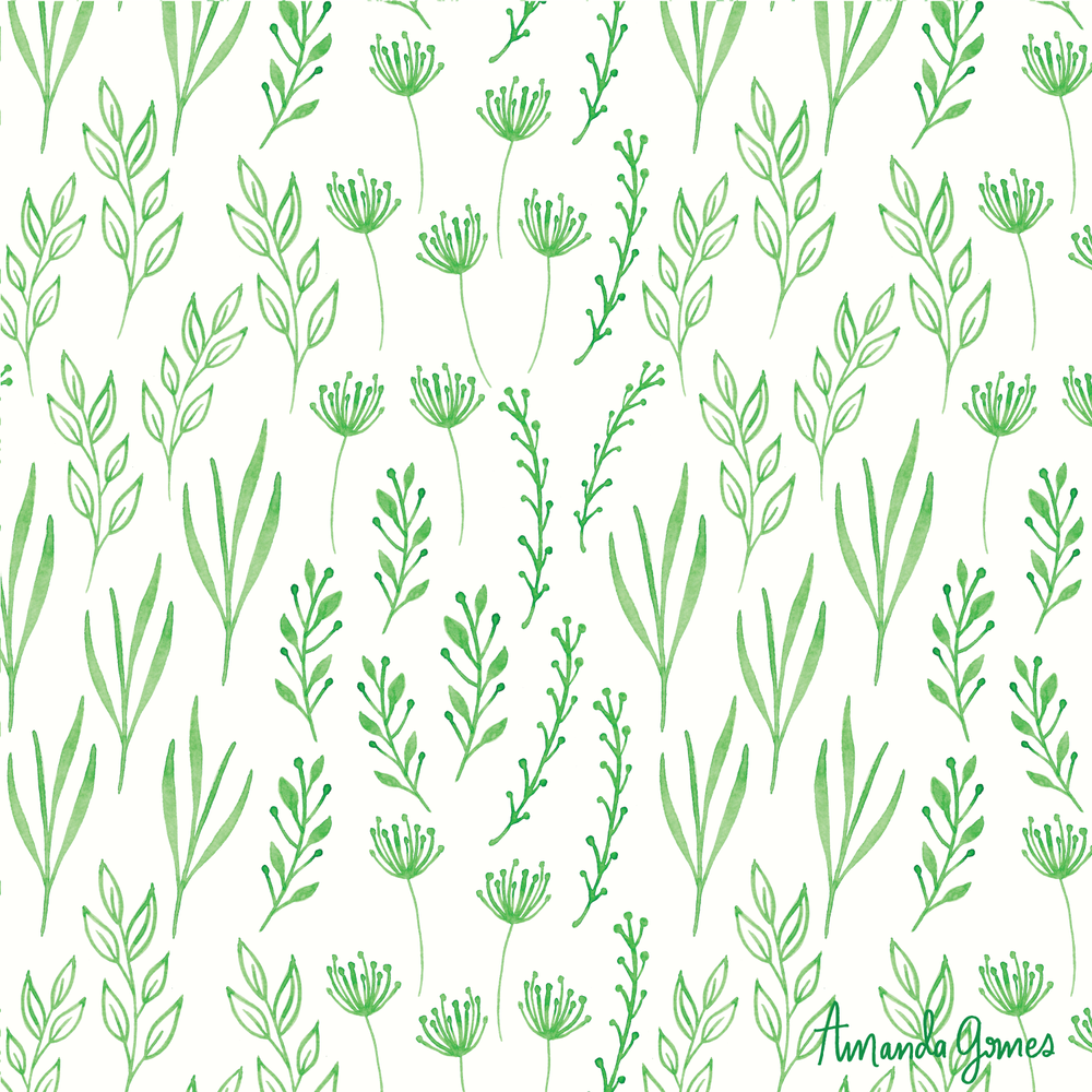 Greenery * Surface Pattern ©Amanda Gomes • delightedco.com