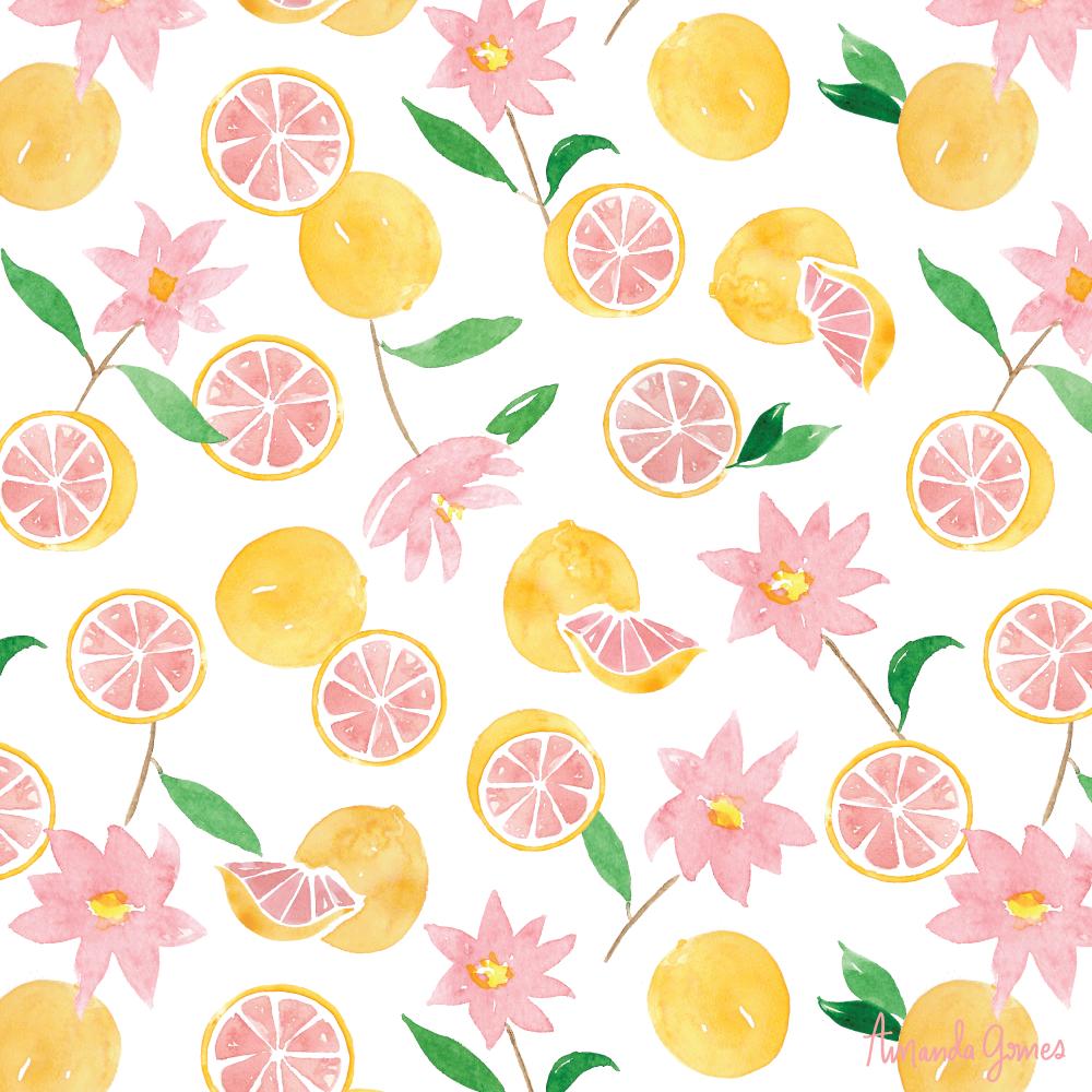 Grapefruit Florals •Surface Pattern ©Amanda Gomes • delightedco.com