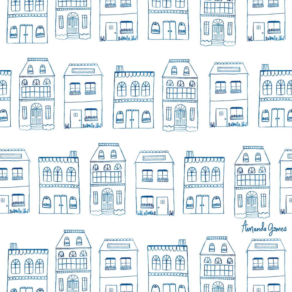 Watercolor Houses •Surface Pattern ©Amanda Gomes • delightedco.com