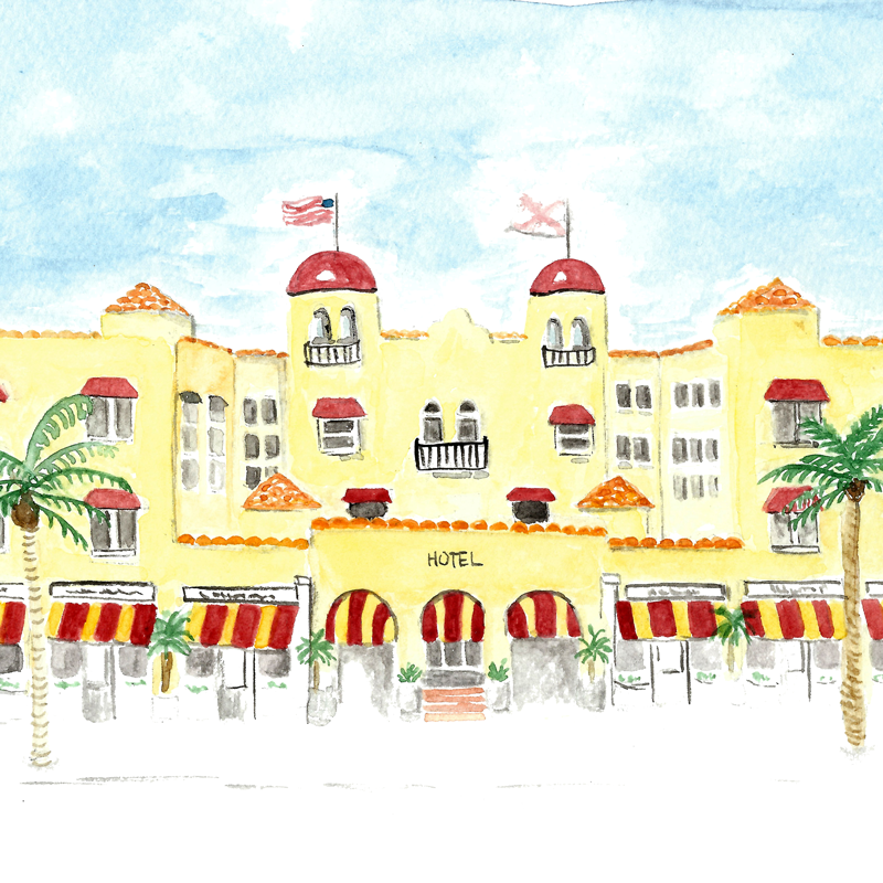 Hotel Watercolor Illustration • ©Amanda Gomes • delightedco.com