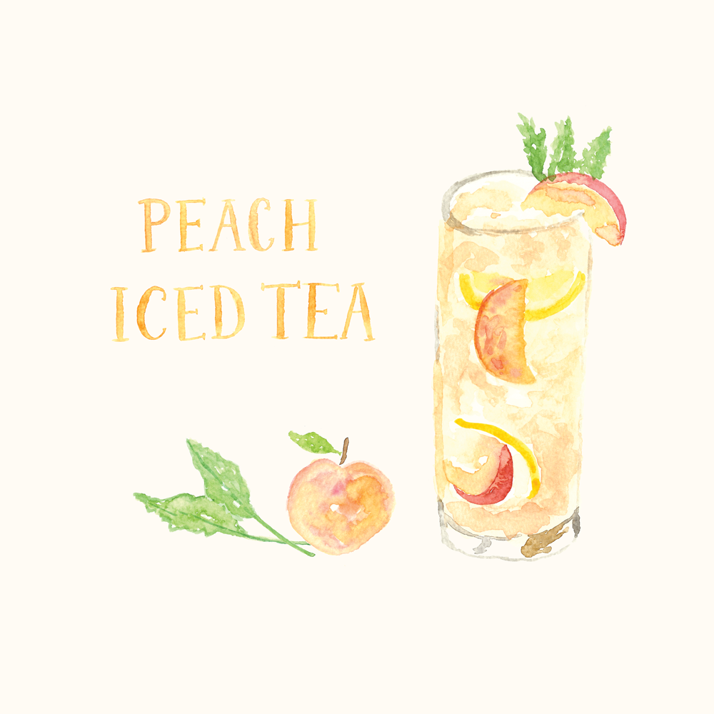 Peach Iced Tea Illustration • ©Amanda Gomes • delightedco.com