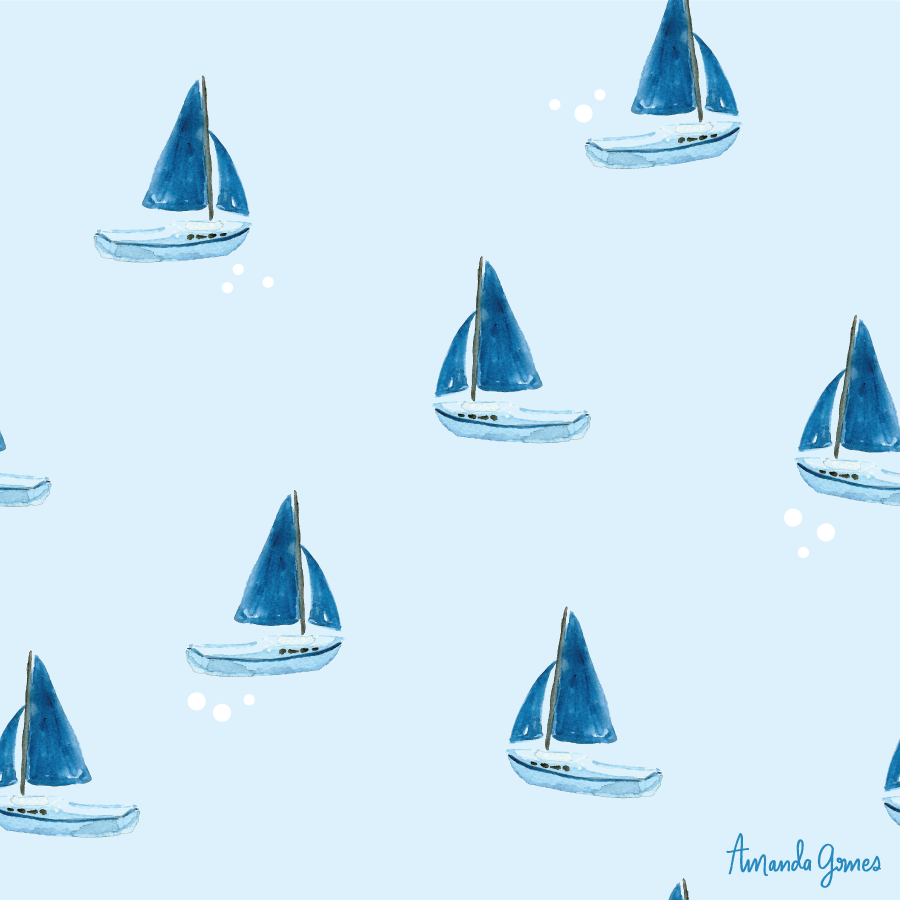 Sailboat Pattern ©Amanda Gomes • delightedco.com