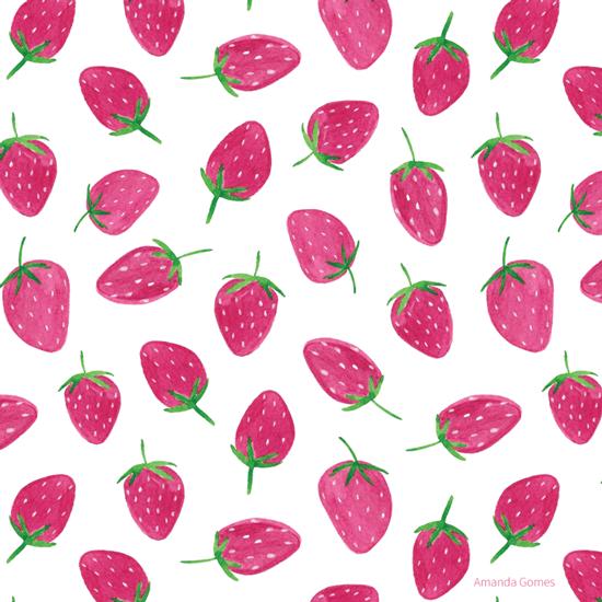 Strawberry Pattern ©Amanda Gomes • delightedco.com