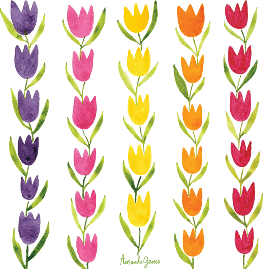 Rows of Tulips • Surface Pattern ©Amanda Gomes • delightedco.com