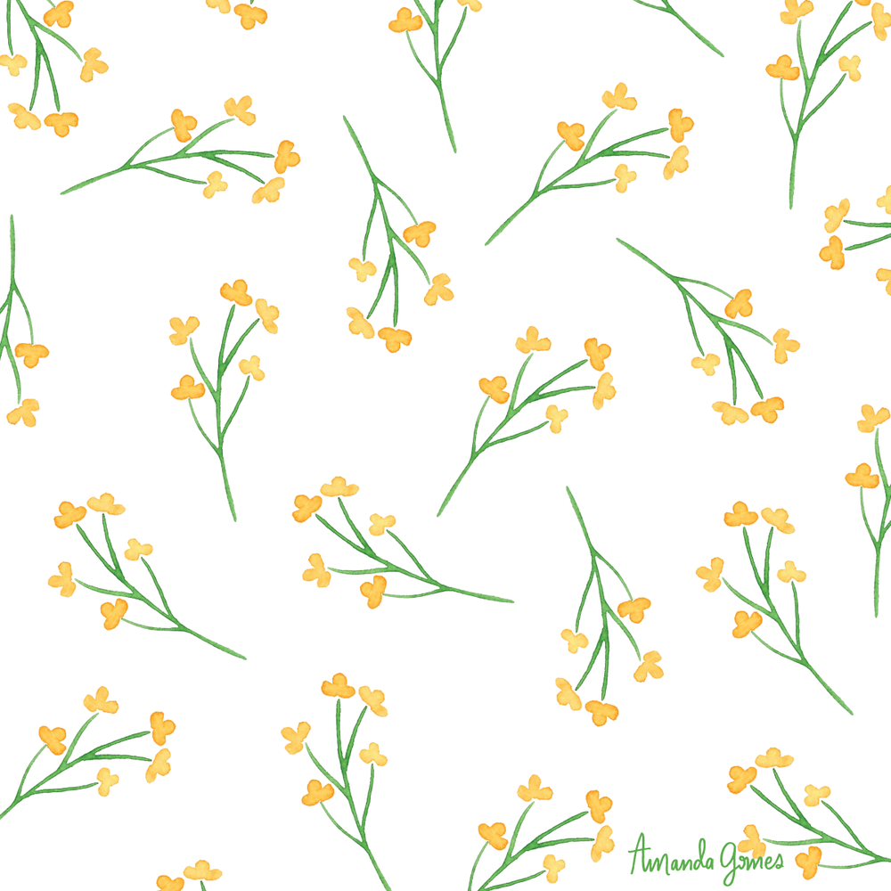 Copyright Amanda Gomes • Simple Wildflower Pattern • delightedco.com