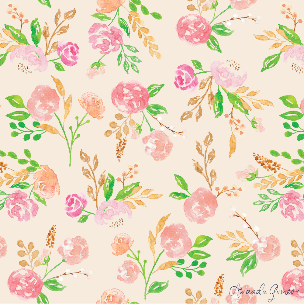 ©Amanda Gomes • Watercolor Floral Pattern