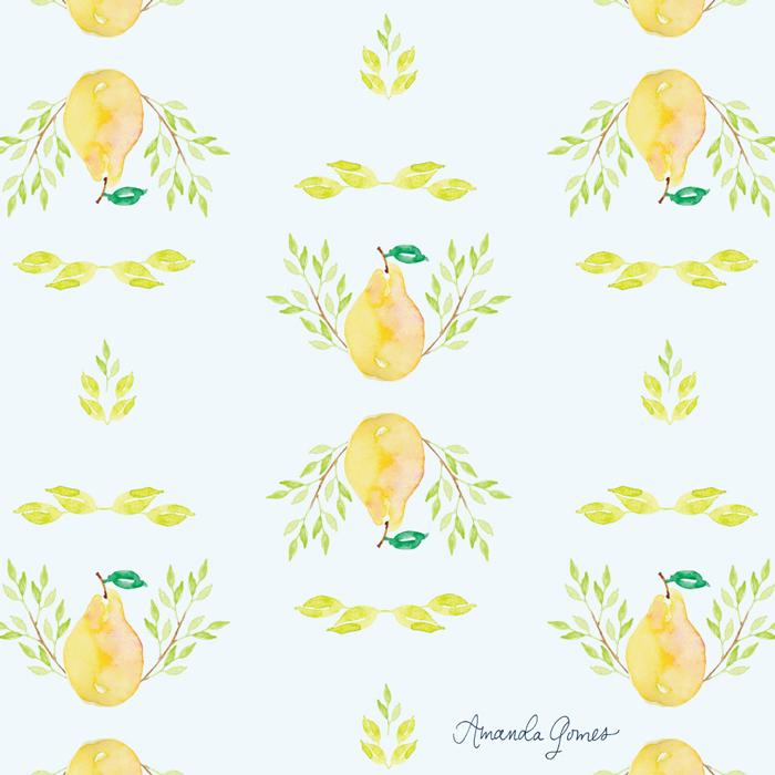 Pear Pattern ©Amanda Gomes • delightedco.com