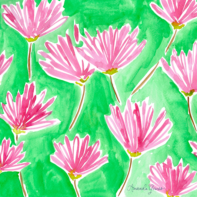 Bright Peony Pattern ©Amanda Gomes • delightedco.com