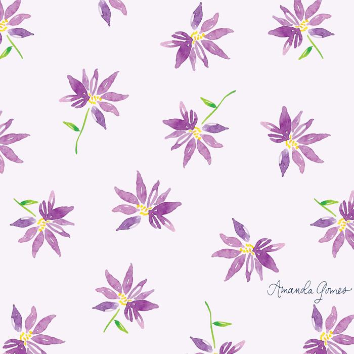Purple Floral Pattern ©Amanda Gomes • delightedco.com