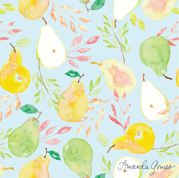 Pear Pattern ©Amanda Gomes • delightedco.com