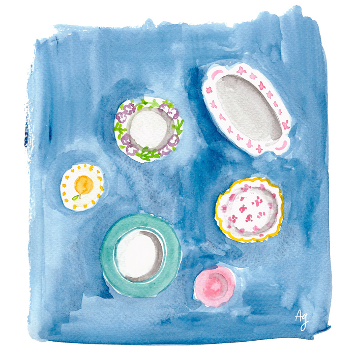 Watercolor Dinnerware Illustration ©Amanda Gomes • amandagomes.com