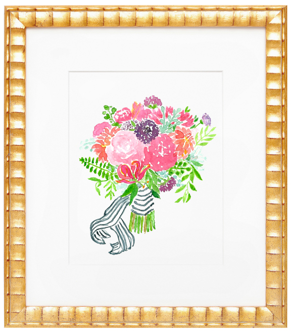 Amanda Gomes Watercolor Illustration Bouquet with Striped Ribbon