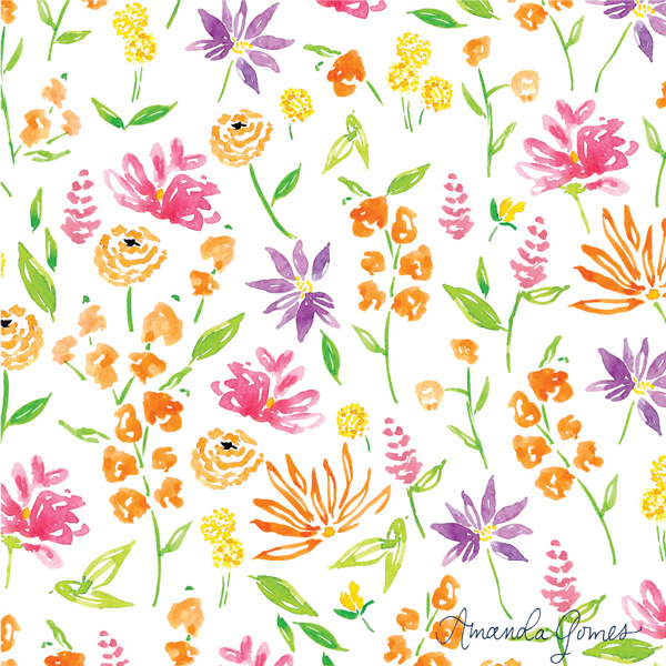 Watercolor Floral Pattern ©Amanda Gomes • delightedco.com